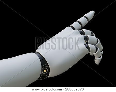 Robot Hand Pointing Index Finger, Isolated On Black Background. 3d Illustration