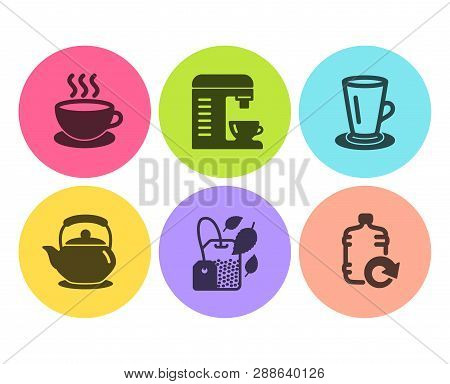 Teacup, Teapot And Cappuccino Icons Simple Set. Coffee Machine, Mint Bag And Refill Water Signs. Tea