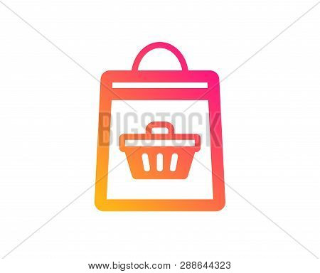 Shopping Bag With Cart Icon. Supermarket Buying Sign. Sale Symbol. Classic Flat Style. Gradient Onli