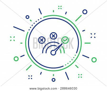 Correct Answer Line Icon. Speedometer Concept Sign. Check Symbol. Quality Design Elements. Technolog