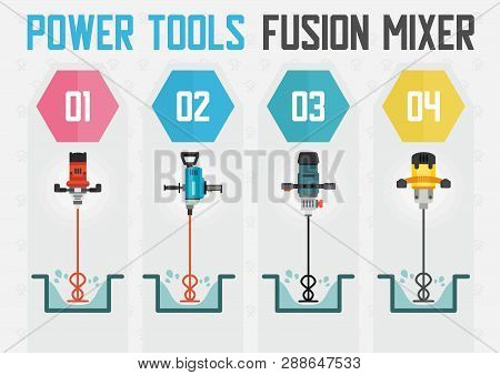 Power Tools For Concrete And Building Mixtures Mixing Flat Vector Web Banner With Different Models O