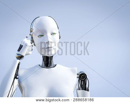 3d Rendering Of A Female Robot Looking Like She Is Thinking About Something Using Her Artificial Int
