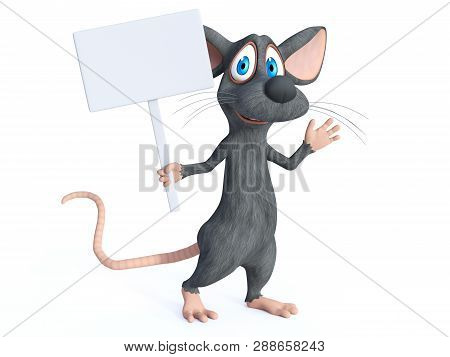 3d Rendering Of A Cute Smiling Cartoon Mouse Holding A Blank Sign And Waving While Marching. White B