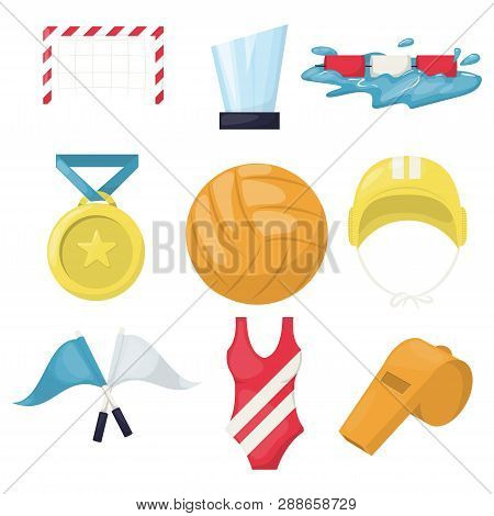 Volleyball Water Sport Player Accessories Beachball Icons Vector Illustration. Healthy Volley Ball T