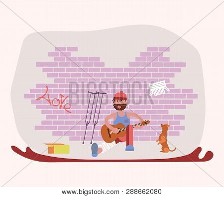 Street Tramp Performer Man Character And His Dog Singing Songs With A Guitar And Begging. Flat Art V
