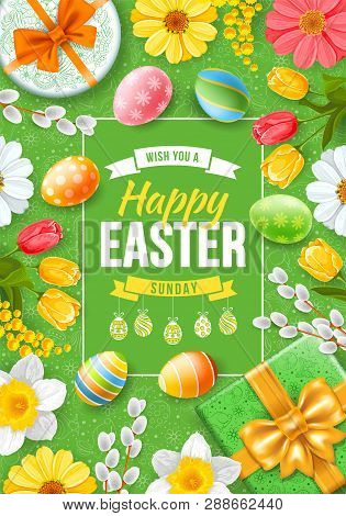 Greeting Design For Easter Holidays. Cute Gifts, Colored Eggs, Willow Branches And Spring Flowers Cr