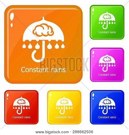 Constant Rain Icons Set Collection Vector 6 Color Isolated On White Background