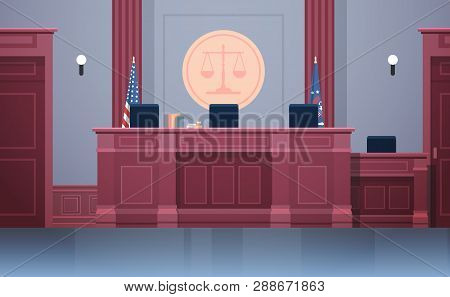 Empty Courtroom With Judge Workplace Chairs And Table Modern Courthouse Interior Justice And Jurispr
