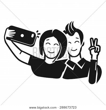 Guy With A Girl Take A Selfie Icon. Simple Illustration Of Guy With A Girl Take A Selfie Vector Icon