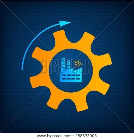 Factory And Gear Icon Industry 4.0 Concept Vector Illustration. Manufacturing Revolution Technology