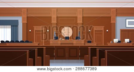 Empty Courtroom With Judge And Secretary Workplace Jury Box Seats Modern Courthouse Interior Justice