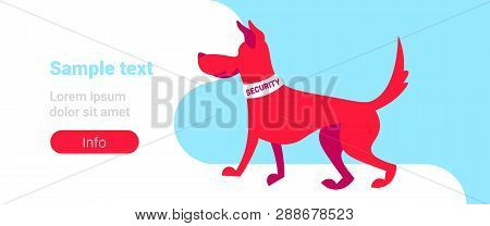 Red Guard Security Dog Training Center Concept Cartoon Animal Horizontal Banner Flat Copy Space