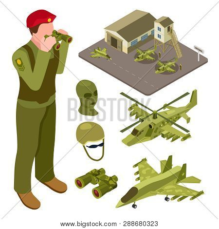 Military Air Force Base Isometric With Helicopter, Fighter Aircraft, Soldiers Vector Illustration. I