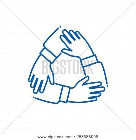 Teamwork Hand. Hands On Each Other Working Group, Alliance Supporting Team. Partnership Business Tog