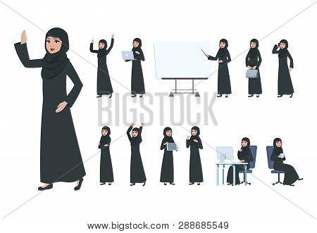Arab Businesswoman. Saudi Muslim Business Woman Character. Islam Arabian Female In Business Activity