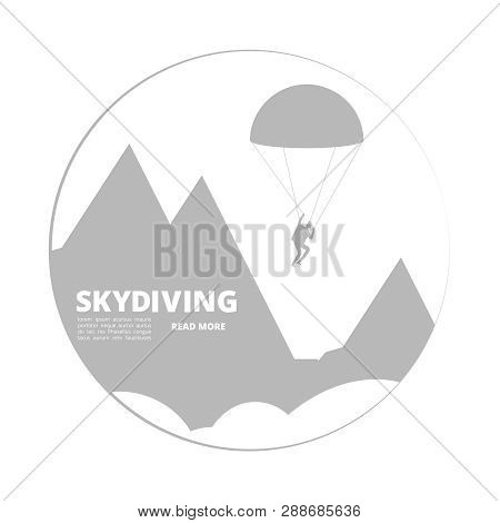 Vector Skydivind Sign With Jumper And Mountain Landscape. Illustration Of Skydiving Jumper, Mountain