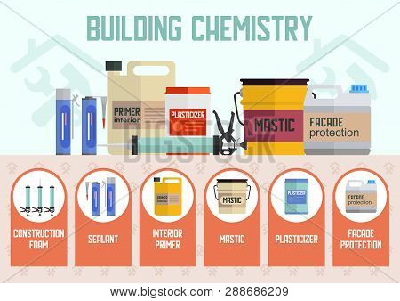 Building Chemistry Materials Flat Vector Concept Or Advertising Banner Template. Construction Foam,