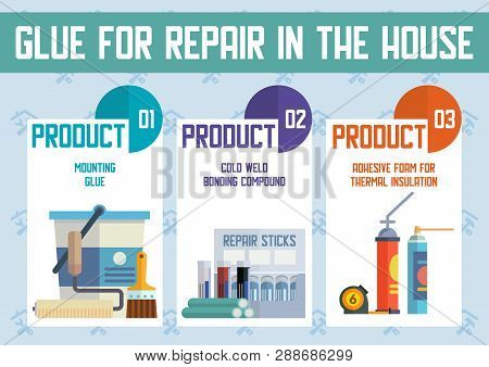 House Repair And Construction Materials Flat Vector Advertising Banner, Poster Template. Various Glu