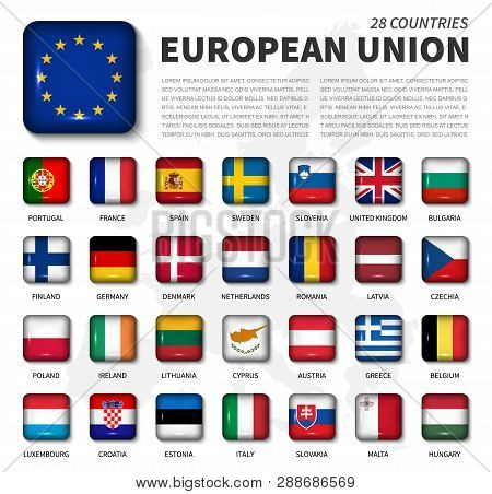 European Union ( Eu ) And Membership Flag . Association Of 28 Countries . Round Angle Shiny Square B