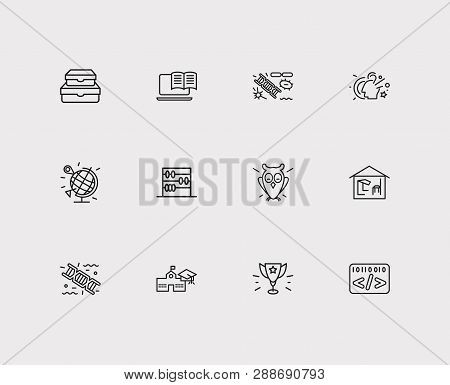 Distant Education Icons Set. Informatics And Distant Education Icons With Abak, Biology And Genetics