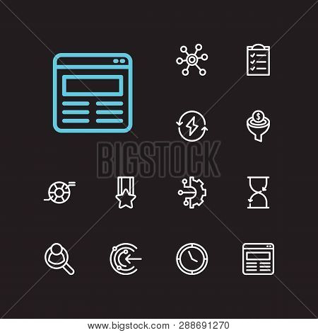 Commerce Icons Set. Human Resource And Commerce Icons With Compliance, Social Media And Clock. Set O