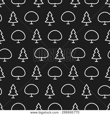 Vector Pattern Of Tree White Line Style For Natural Product Store, Garden, Nature Cosmetics, Ecology