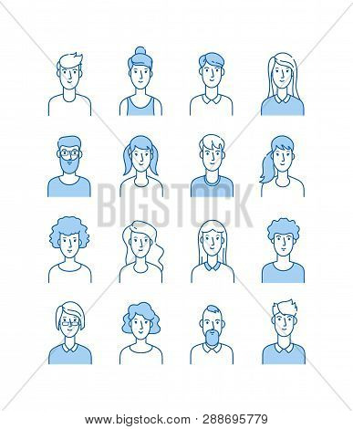 Outline Avatars. Smiling Young People Icons User Flat Line Man Woman Anonymous Faces Man Woman Cute