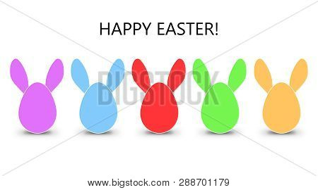 Colorful Easter Eggs In A Row On White Background For The Easter Season.  Modern Easter Illustration