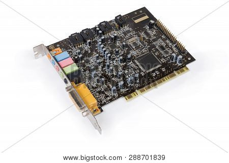 Old Internal Sound Card For Pci Bus On A White Background
