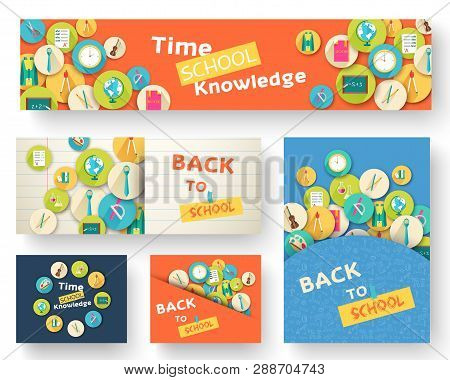 Back To School Information Pages Set. Education Template Of Flyear, Magazines, Posters, Book Cover,
