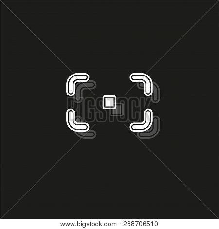 Autofocus Icon - Digital Photo Camera Illustration, Vector Image Concept Dslr Af. White Flat Pictogr