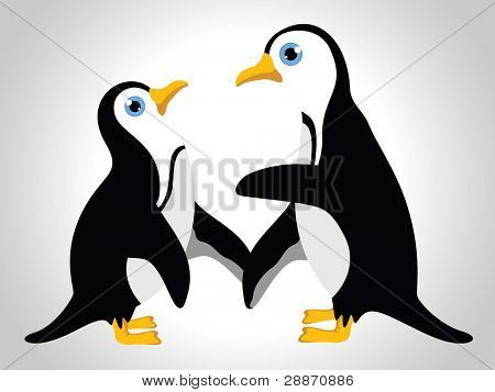 Vector illustration of  couple of penguins  on white isolated background for valentine's day and  other occasion