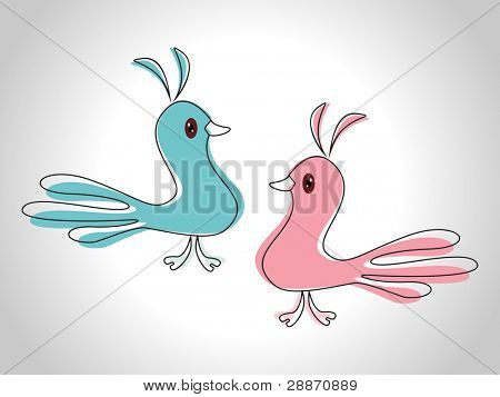 Vector illustration of love birds in blue and pink color on white isolated background  as an element for Valentines Day and other occasions.