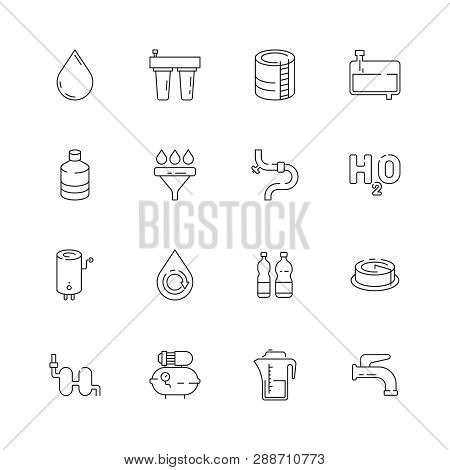 Clean Water Icon. Fresh Drink Dispenser Machine Purity Relations Eco Barrel Vector Thin Line Symbols