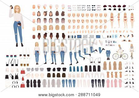Trendy Young Girl Constructor Set Or Diy Kit. Collection Of Body Elements In Various Postures, Fashi