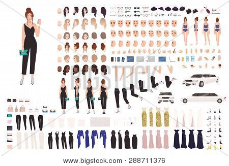Elegant Young Woman Animation Set Or Constructor Kit. Collection Of Body Parts, Gestures, Postures,