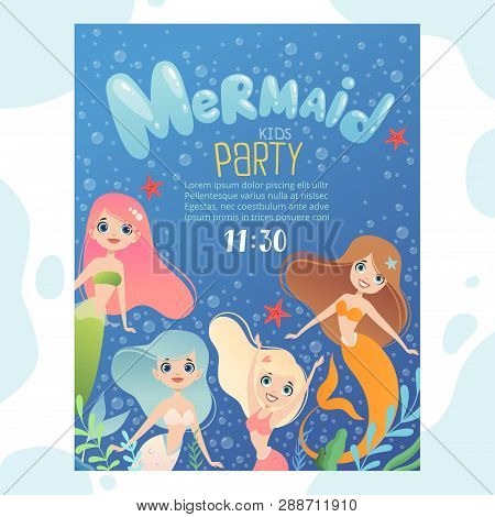 Mermaid Party Invitation. Design Template Invite Kids Birthday Cards With Funny Underwater Character