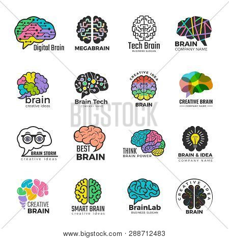 Brain Logotypes. Business Concept Of Colored Smart Mind Innovation Creative Vector Colored Symbols.