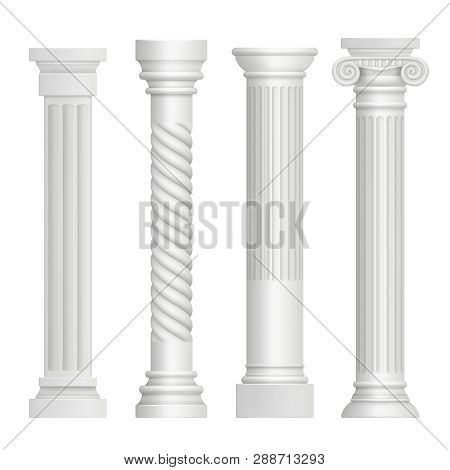 Antique Column. Historical Greek Pillars Ancient Building Architecture Art Sculpture Vector Realisti