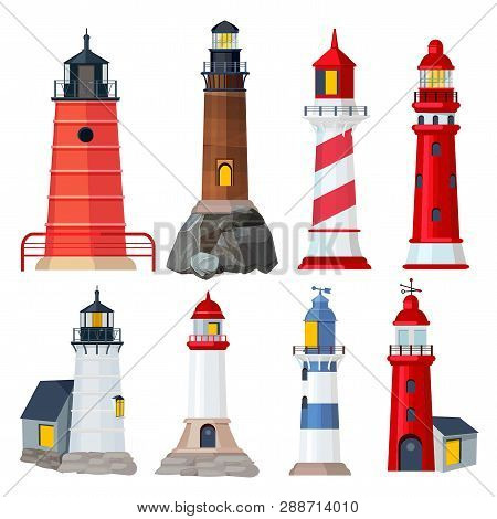 Lighthouses Collection. Night Sailing Building In Seaport Security Searchlights Vector Illustrations