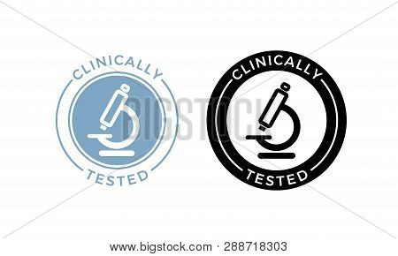 Microscope Clinically Tested Vector Icon. Medically Approved Product Health Safe Certificate Microsc