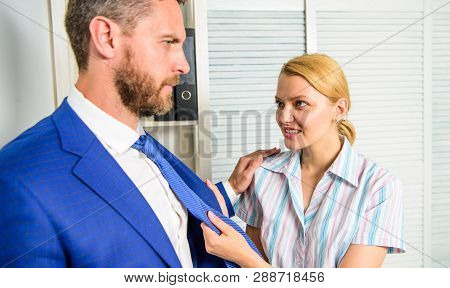 Female Take Sexual Initiative. Office And Sexual Behavior. Woman Provokes Or Tease Guy. Girl Seduce