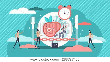 Fasting Vector Illustration. Flat Tiny Metabolism Diet Time Person Concept. Modern And Healthy Metho