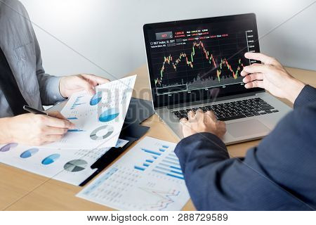 Businessmen Talking About Stock Market Invest Trading Online Analysis Discussing Financial Graph  Fo