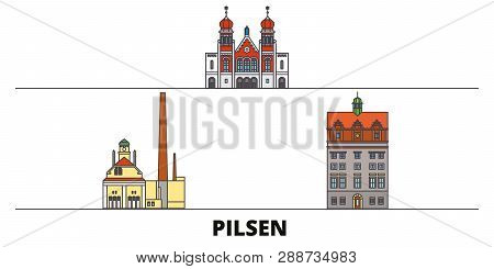 Czech Republic, Pilsen Flat Landmarks Vector Illustration. Czech Republic, Pilsen Line City With Fam