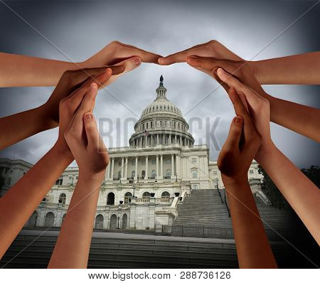 Diversity In America Or A United States Symbol For Diverse Multicultural Government Community In A 3