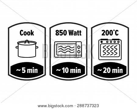 Cook Minutes Vector Icon. 5, 10 And 20 Minutes Cooking In Boiling Saucepan, Microwave Watt And Oven