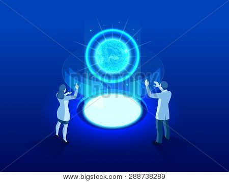 Isometric High Tech Power Plant Thermonuclear Or Nuclear Reactor. Development Of Nuclear Or Atomic T