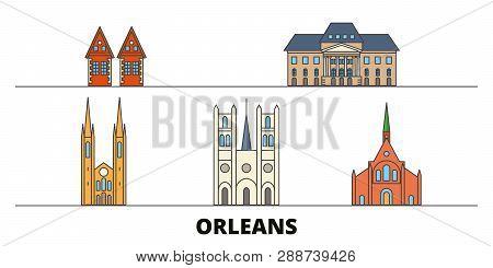France, Orleans Flat Landmarks Vector Illustration. France, Orleans Line City With Famous Travel Sig