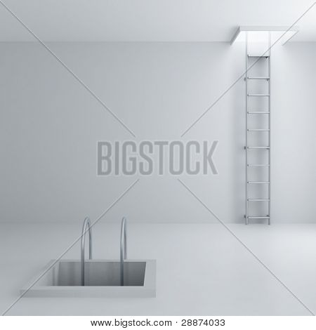 Ladders upwards and downwards in a light room poster